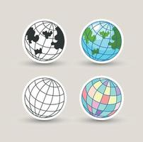 Globe icon illustration on white background vector