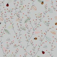 Pequeñas flores con mariquitas de patrones sin fisuras ilustración vectorial vector