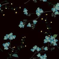 Blue blooming flower in the garden seamless pattern, for fashion, fabric, textile, print or wallpaper vector