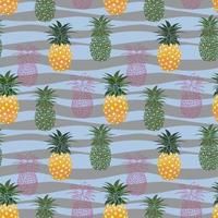 Colorful pineapple seamless pattern on pastel waves background, for fashion, fabric, textile, print or wallpaper vector