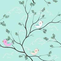 Patrón sin costuras de dibujos animados de pájaros lindos sobre fondo azul suave para producto infantil, impresión, tela, textil o papel tapiz vector