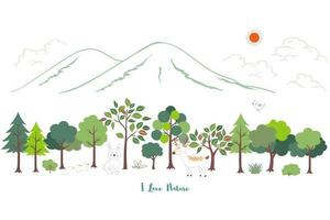 Cute cartoon animals wildlife with nature landscape background for kid product print or textile vector