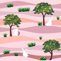 Cute rabbits with easter eggs in the garden seamless pattern on pastel background for happy holiday fabric textile print or wallpaper vector