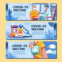 vacuna covid 19 vacunación bandera azul para ancianos vector