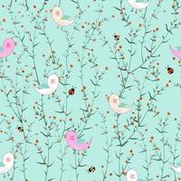 Cute birds in blooming flowers garden on pastel blue background for fabric, textile, print or wallpaper vector