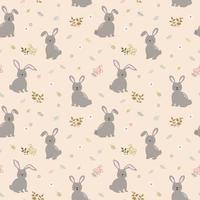 Seamless pattern with rabbits the gang on cute floral background. Perfect for kid product, apparel, fashion, fabric, textile, print or wrapping paper vector