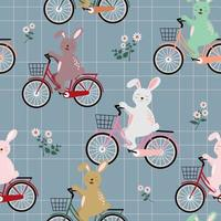 Rabbits the gang on colorful bicycle seamless pattern for kid product, fashion, fabric, textile, print or wallpaper vector