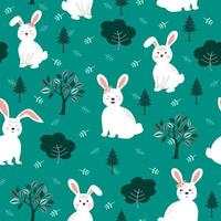 Cute white rabbits the gang seamless pattern on green background for kid product, fashion, fabric, textile, print or wallpaper vector