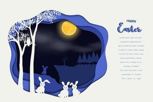 Paper art design with rabbit the gang on night scene background for happy easter, celebrate party, invitation or greeting card vector