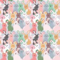 Lindos conejos de colores sin patrón sobre fondo azul pastel para productos para niños, moda, tela, textil, impresión o papel tapiz vector