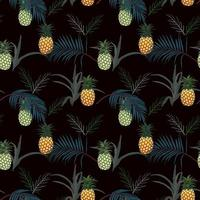 Pineapple with tropical leaves on dark summer night seamless pattern for fashion, fabric, textile, apparel, decoration or print vector