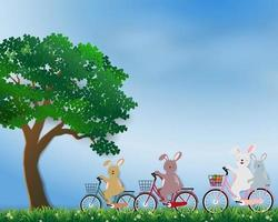 Happy cute rabbits the gang in the meadow on sunshine day for Easter holiday, invitation, greeting card or poster vector