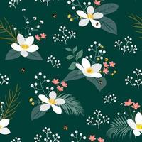 Vintage floral with tropical leaves seamless pattern on dark green background for fashion, fabric, apparel, decoration, textile, print or wallpaper vector