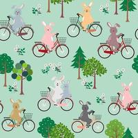 Cute rabbits the gang with bicycle happy in the garden seamless pattern for kid product, fashion, fabric, textile, print or wallpaper vector