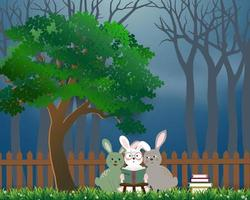 Cute rabbits the gang reading books under the tree, background for World book day or International Education Week vector