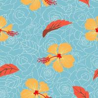 Tropical floral and leaves seamless pattern on pastel roses background for decorative, fashion, fabric, textile, print or wallpaper vector