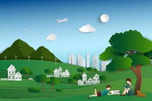 ciudad de naturaleza verde con niños leyendo libros bajo los árboles, fondo para el día mundial del libro o la semana internacional de la educación vector