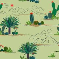 Hand drawing cactus and succulent plants seamless pattern on pastel green background for decorative, fashion, fabric, textile, print or wallpaper vector