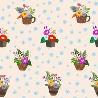 Blooming colorful flowers on pot seamless pattern for decorative, fashion, fabric, textile, print or wallpaper vector