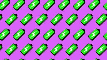 animação de design de movimento 4k padrão sem emenda de bateria cheia verde video