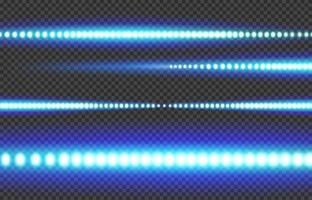tira de luz led azul blanca brillante vector