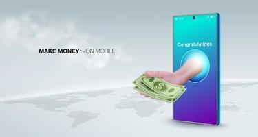 Smartphones make money online vector