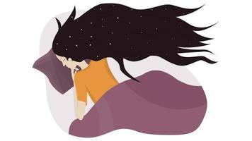 The girl sleeps in her bed vector