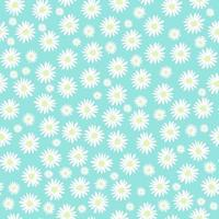 patrón floral transparente con flores de manzanilla sobre fondo azul ilustración de diseño vectorial tarjeta de invitación de boda vector