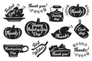 Thanksgiving stickers labels autumn november holiday turkey pumpkin cup kettle pie oven glove herbs lettering black silhouettes vector