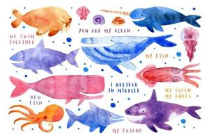 Sea underwater creatures animals fishes whale shark walrus narwhal jellyfish octopus killer whale dolphin squid watercolor illustration vector