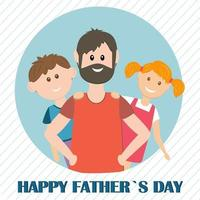 Greeting card gift for father on holiday color vector illustration flat style