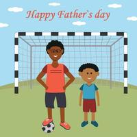 Greeting card gift for father on holiday father and son playing football color vector illustration flat style