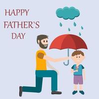 Greeting card gift for father on holiday father holding umbrella over son color vector illustration flat style