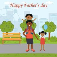 Greeting card gift for father on holiday father with daughter and son on a walk in the park color vector illustration flat style