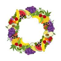 Round frame made of exotic fruits vector