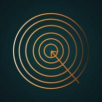 vector de placa de objetivo de tiro con arco de oro. concepto de oro degradado con fondo oscuro