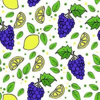Seamless pattern with lemons and grapes juicy blue grapes tropical exotic fruits floral pattern green leaves and dots vector illustration in doodle style