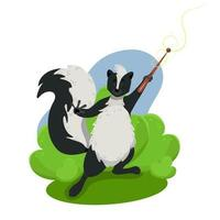 Cute funny skunk holding a magic wand wild animals vector character in cartoon style clip art on a white background
