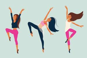 niña bailando bailarina de danza moderna en pose elegante conjunto de personajes femeninos en la ilustración de vector de estilo de dibujos animados