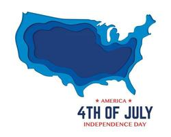 America Independence Day Map Paper vector