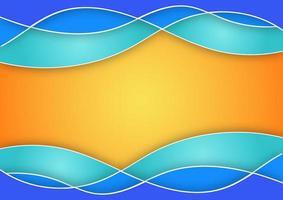 Onda azul abstracta sobre fondo degradado naranja concepto de fondo de verano vector