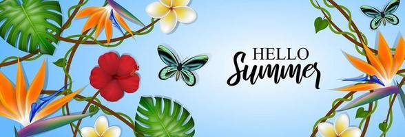 hello summer banner with tropical flowers and butterflies vector