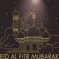 Vector illustration of eid mubarak mono line banner background template