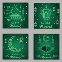 Vector illustration of eid mubarak hand drawn banner background template
