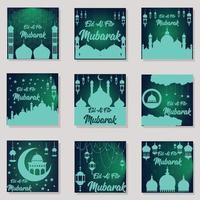 Happy Eid Mubarak Greeting Background Design Collection vector