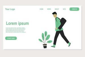 landing page design of man walking carrying bags vector