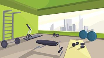 Gym with fitness equipment vector