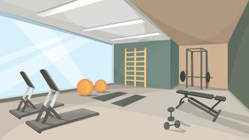 Background of gym with big window vector