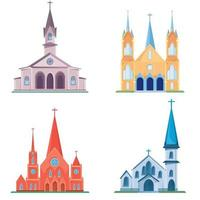 Set of different catholic churches vector