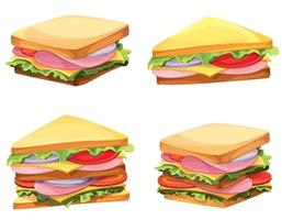 Set of different sandwiches vector
